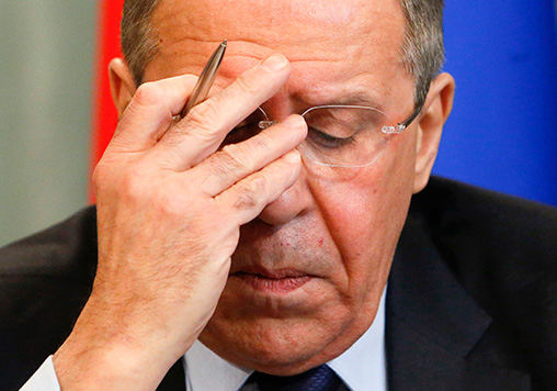 Russian Foreign Minister Sergei Lavrov reacts as he attends a news conference after a meeting with his German counterpart Frank-Walter Steinmeier in Moscow, Russia, 23 March 2016. REUTERS/Sergei Karpukhin