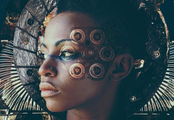 woman's portrait with electronics - photo montage