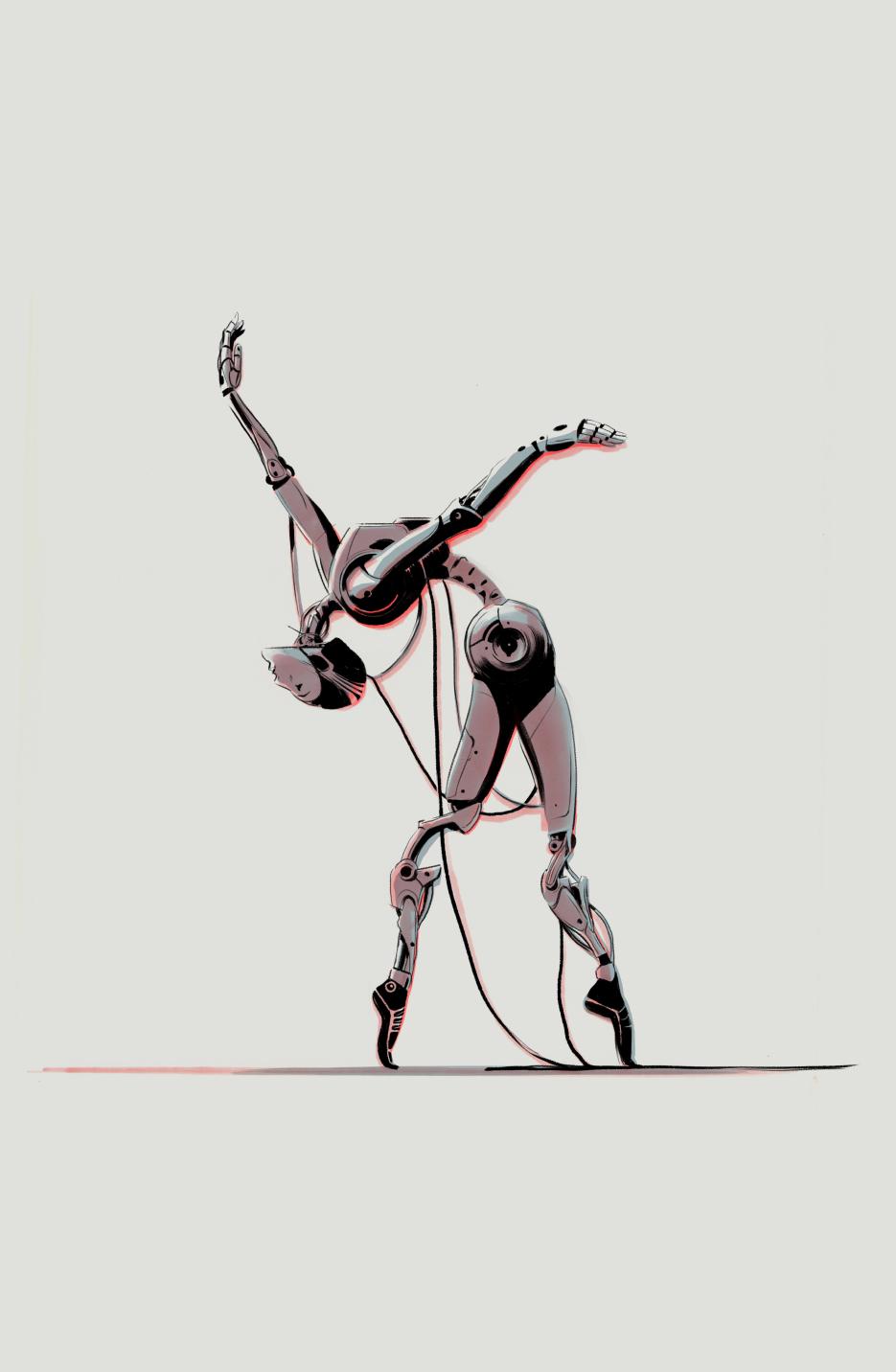 Illustration of a robot dancer by Señor Salme.