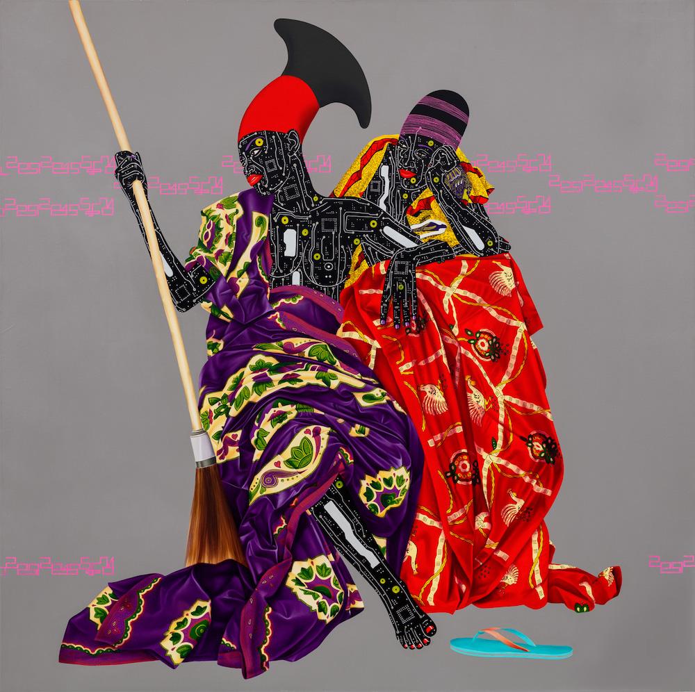 Colorful circuit-board painting by Eddy Kamuanga Ilunga.