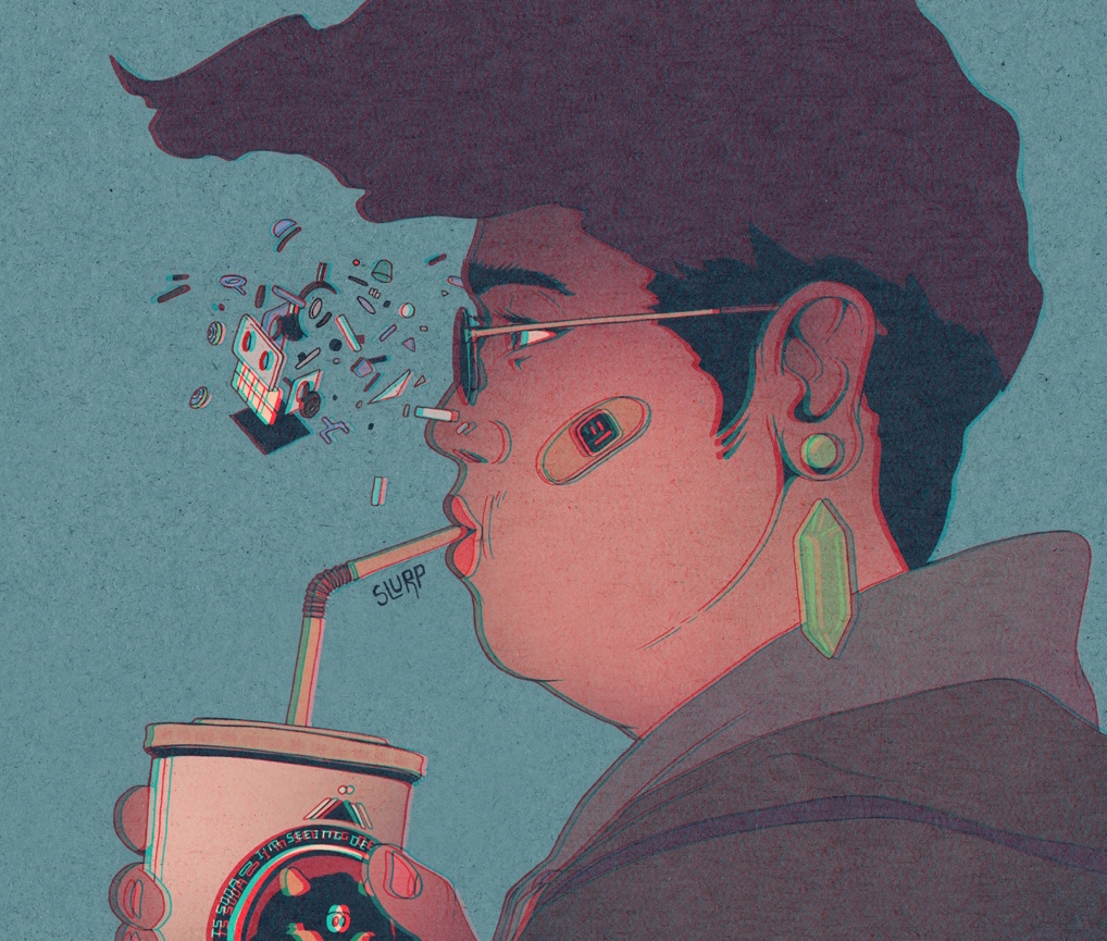 A person sips from a straw while machine parts burst forward from their face.
