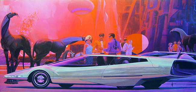 Futuristic car and party scene designed by Syd Mead.