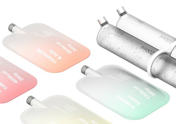 slick recyclable bottles of space food