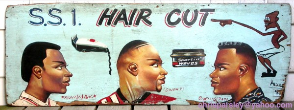 A stylized barbershop sign from Ghana.