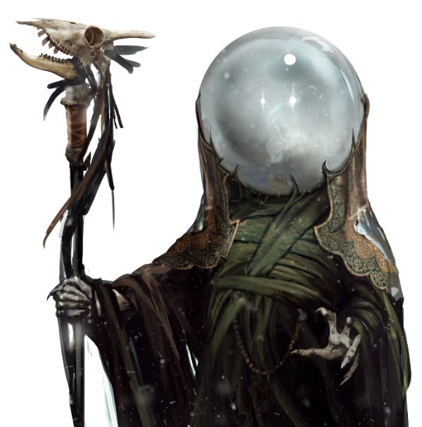 An alien with green robes, a cane, and a clouded globe for a helmet