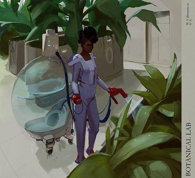 woman waters plants in a futuristic indoor garden