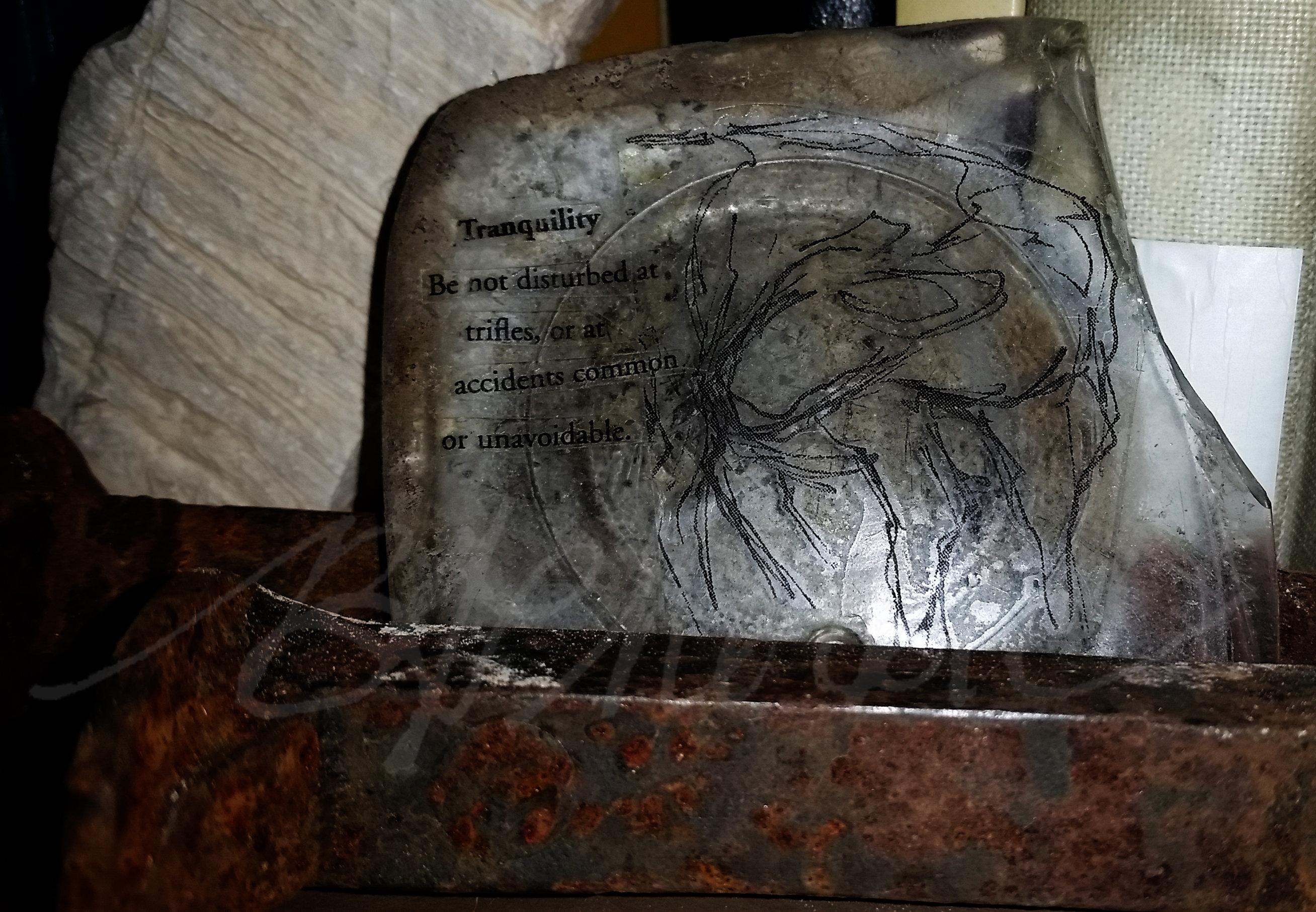 Tape-transfer sticker; sketch on glass fragment