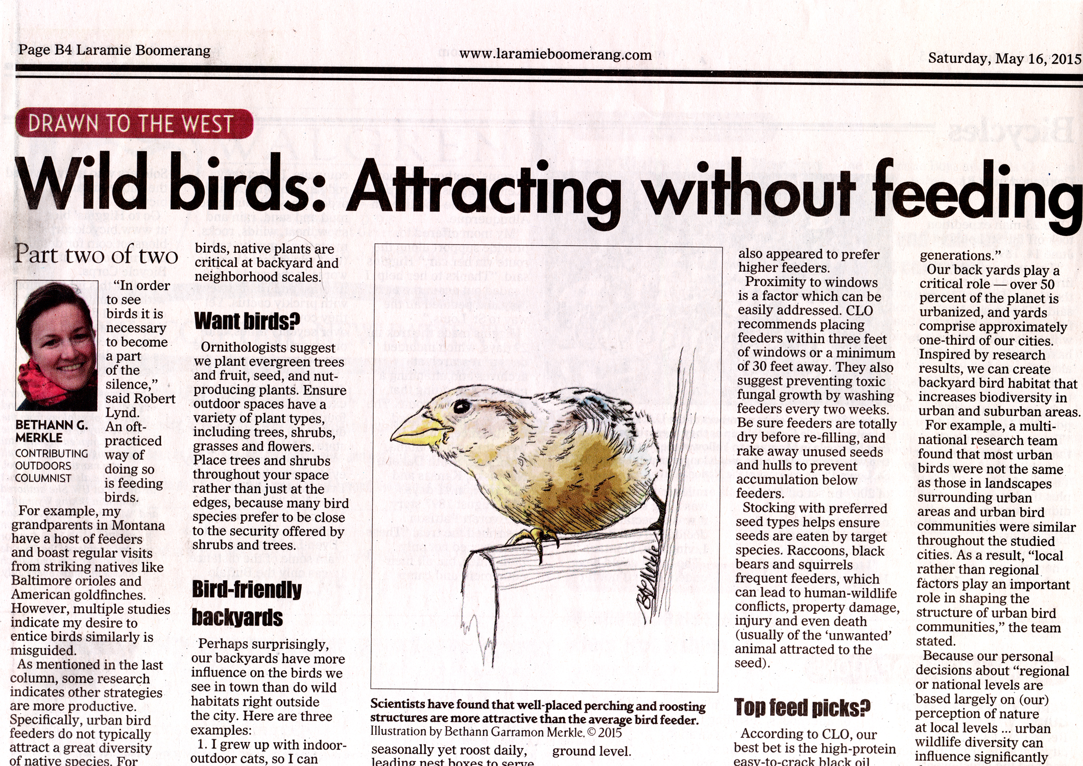 Screenshot of article about attracting wild birds_copyright 2015, Bethann Garramon Merkle