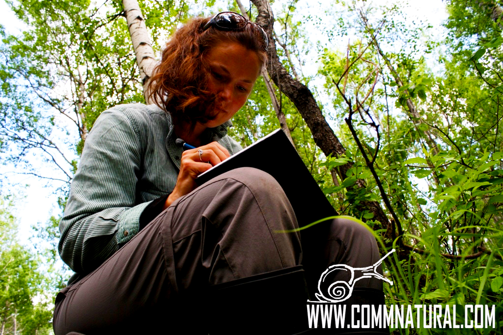 Photo of Bethann sketching outdoors_Photo by Jerod Andrew Merkle, copyright 2013