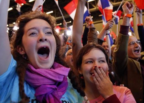 Partisans au QG d'un candidat à l'élection présidentielle