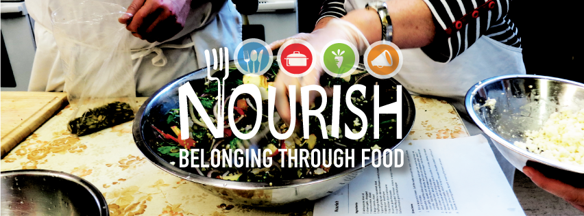 Image logo with text 'belonging through food'