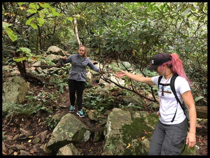 Mariton Wildlife Sanctuary hiking descent Delaware River