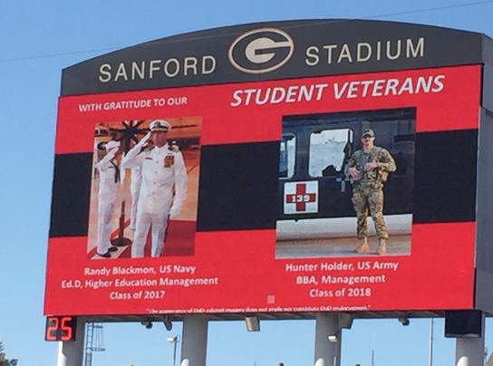 Student veteran jumbotron photo