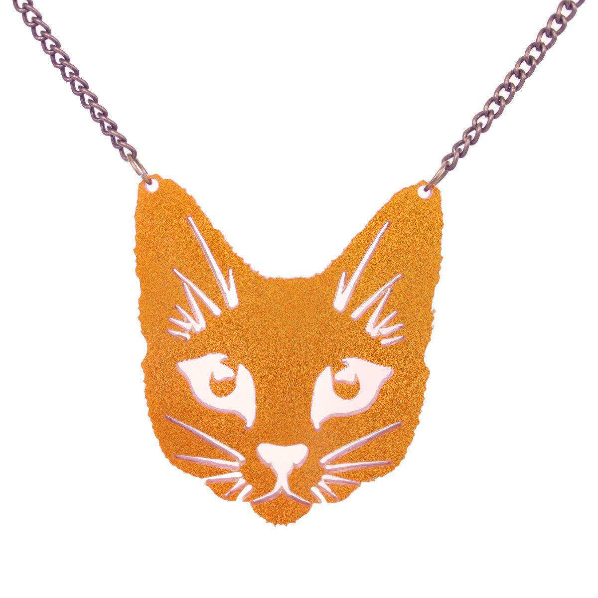 Orange Glitter Cat Necklace - Extreme Largeness Wholesale