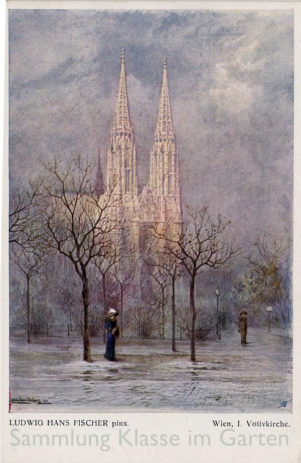 Sigmund-Freud-Park vor der Votivkirche. AK gelaufen 1911