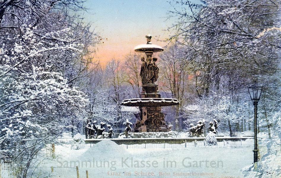 Graz Stadtpark, Brunnen, AK gelaufen 1914