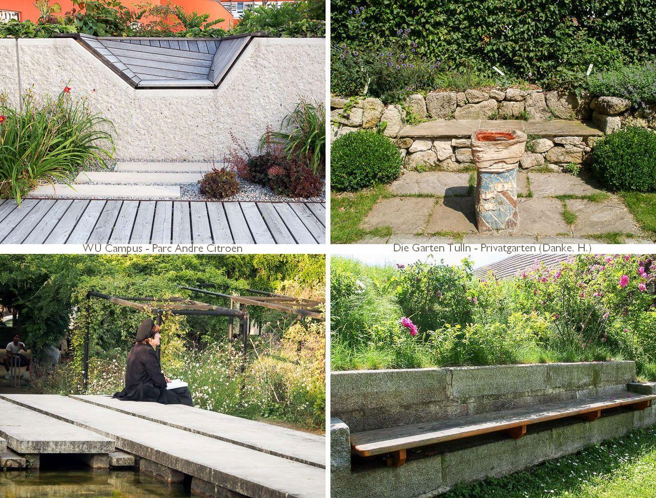 vier fix eingebaute Sitze in Gärten