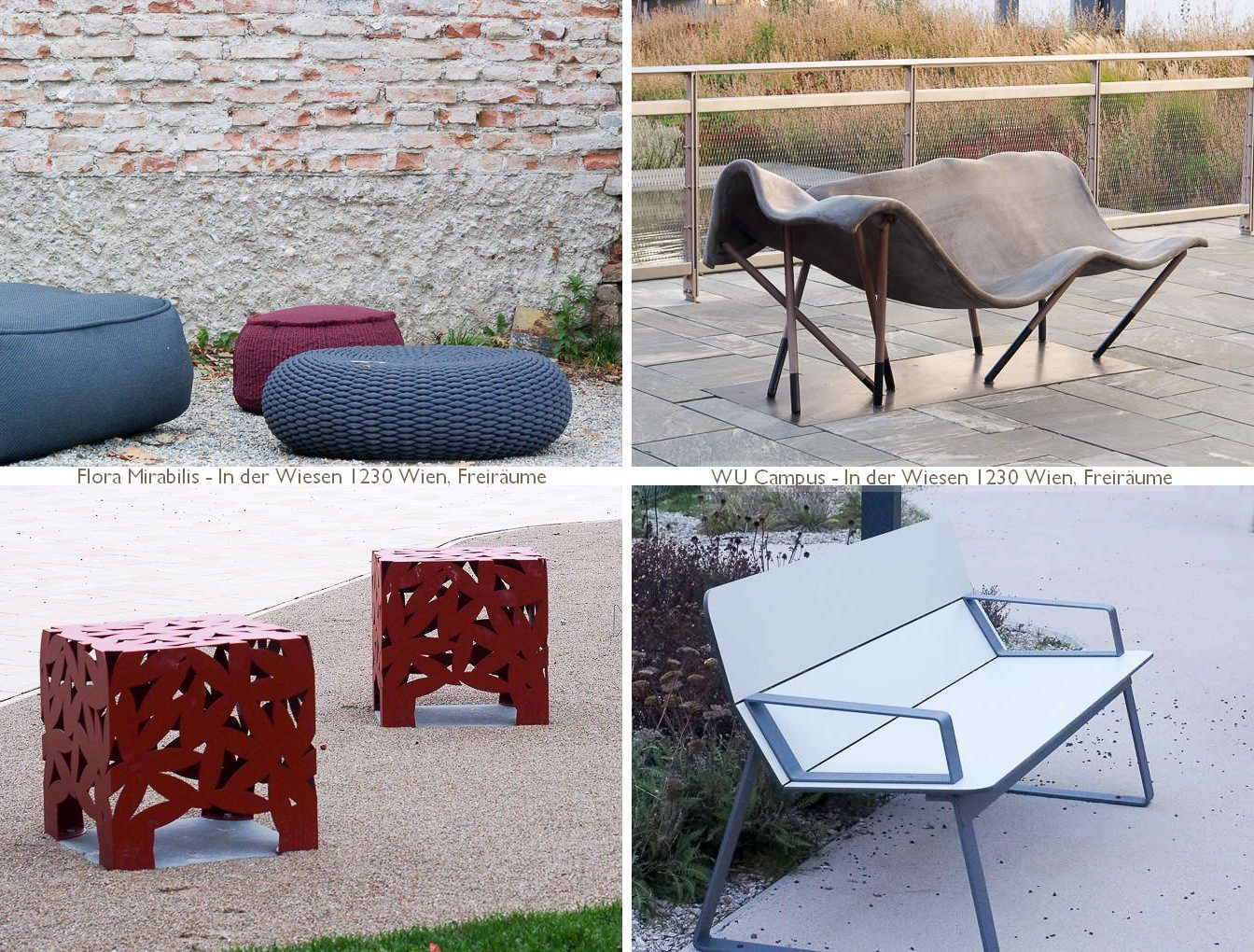 modernes zum draussen sitzen - gewebt, geflochten, gelasert, kunststoff, verbundstoff, 'concrete canvas'