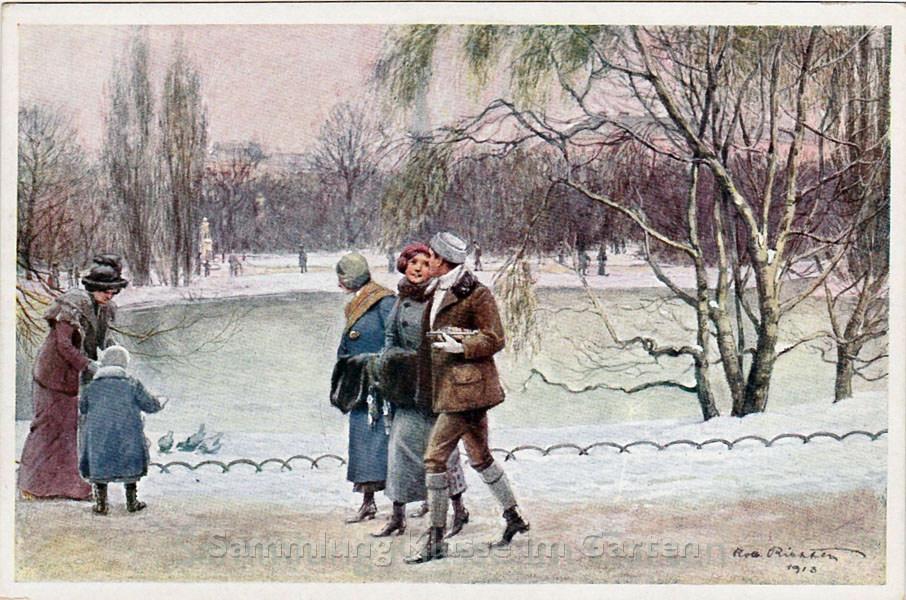 Wiener Stadtpark - der Teich im Winter AK gelaufen 1913