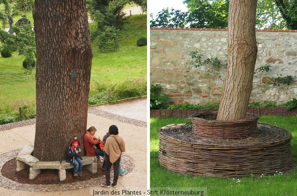 Zwei Baumbänke aus Stein und Weidengeflecht
