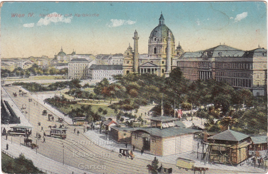 Karlsplatz in Wien, Ansichtskarte gelaufen 1913