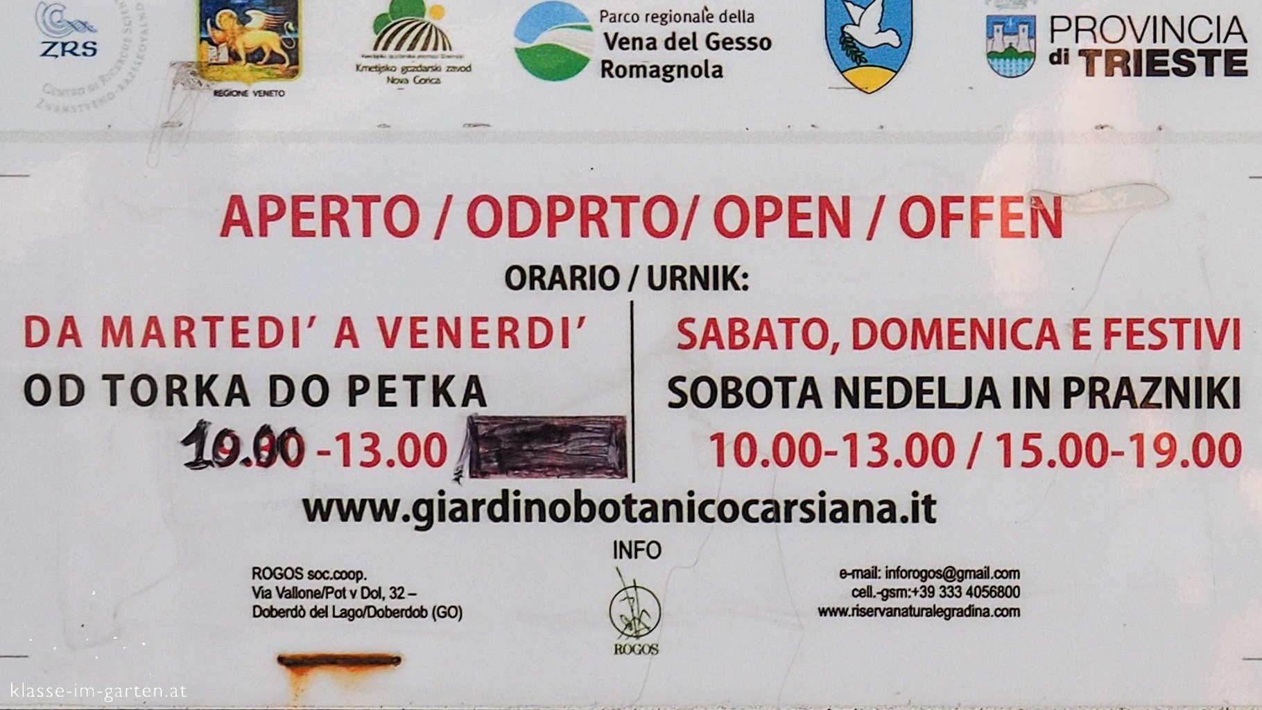 Giardino Botanico Carsiana- Öffnungszeiten