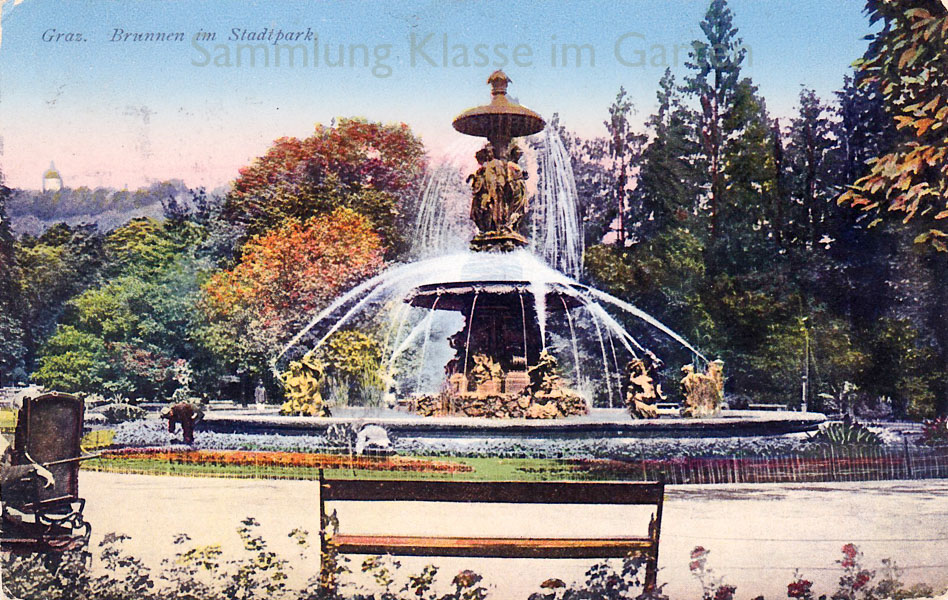 Graz Stadtpark, Brunnen, AK vor 1924
