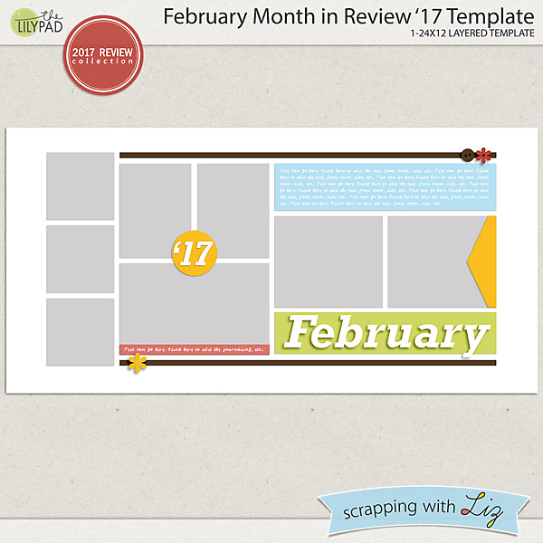 February Month in Review Digital Scrapbook Templates