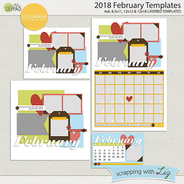 2018 Calendar Templates for Scrapbooking