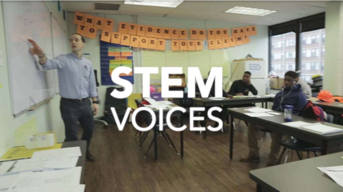 A classroom with overlaid text: STEM Voices