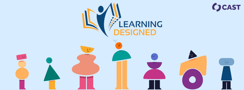 Learning Designed logo surrounded by abstract characters representing people with diverse learning needs