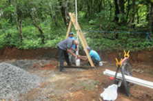 Installing the Suction Pipe through the well casing