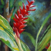 Red ginger lily painting