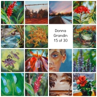 Collage of first 15 paintings of 30 in 30 challenge