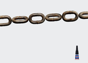 """Loctite Glue Ad """"As Strong as a Chain"""""""