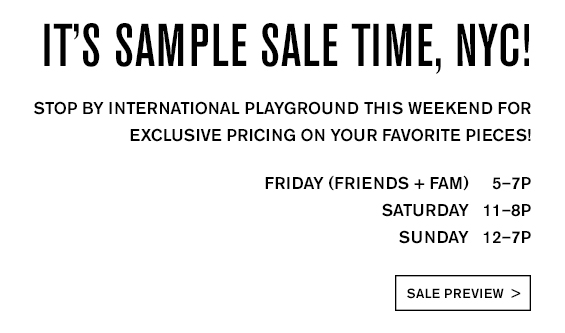 It's Sample Sale Time, NYC!
