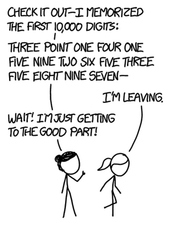 Randall Munroe tekening over pi