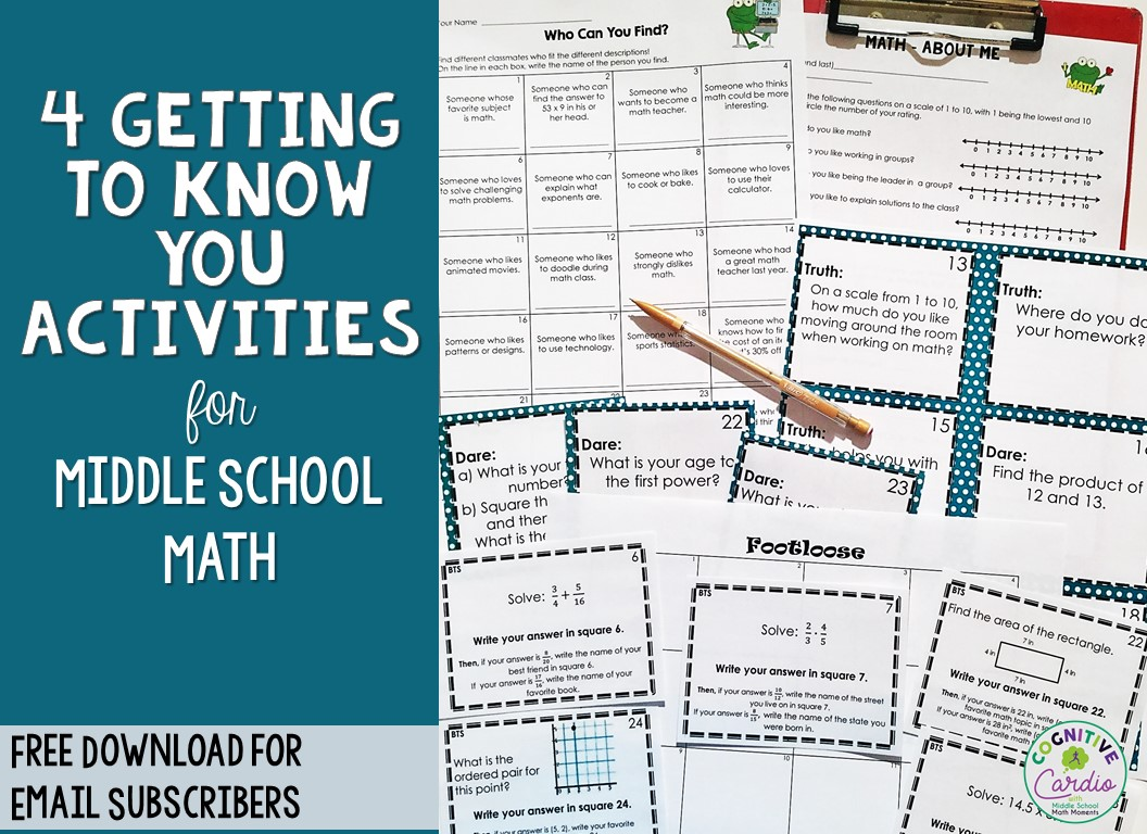 getting to know you resources for middle school math