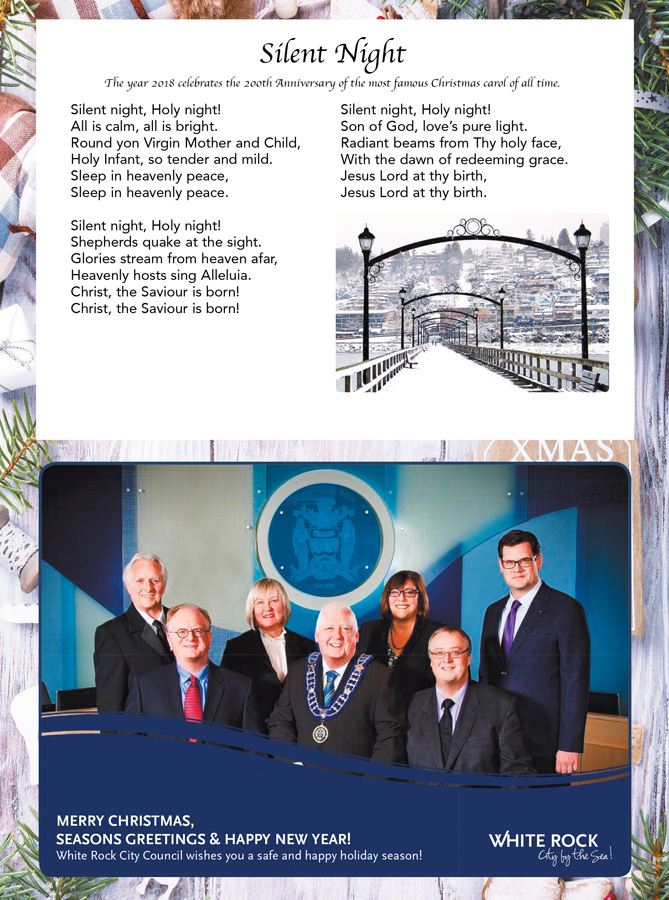 Merry Christmas, Seasons Greetings and Happy New Year from White Rock City Council.