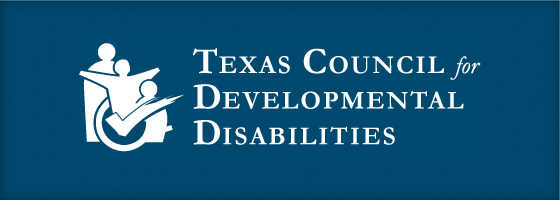 White Texas Council for Developmental Disabilities Logo over blue background