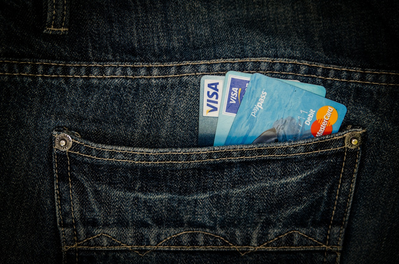 Jeans filled with credit cards