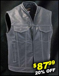 Men's White Stitch Black Leather CCW Club Vest w/1 Piece Back #VM904GNWK