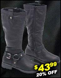 Black Biker Zip Harness Boots for Women #BLC7LIONK