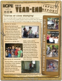 HOPE Coffee - 2012 Year End Impact Report - Thank you!