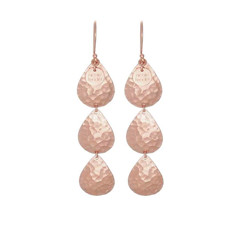Nicole Fendel Talia Tripe Teardrop Earrings in Rose Gold