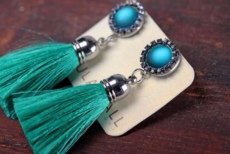 Paula Hall Designs Gatsby Tassel Earrings in Teal