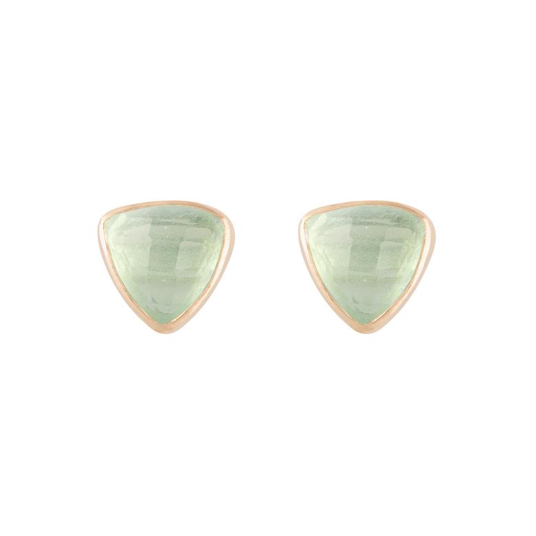 Nicole Fendel Pia Gemstone Stud Mint Chalcedony