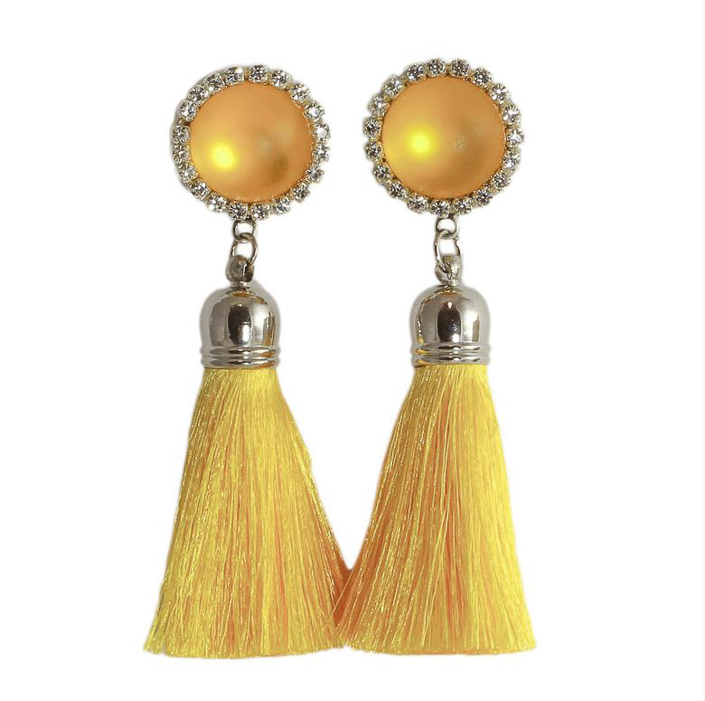 Paula Hall Gatsby Tassel Earrings - Yellow