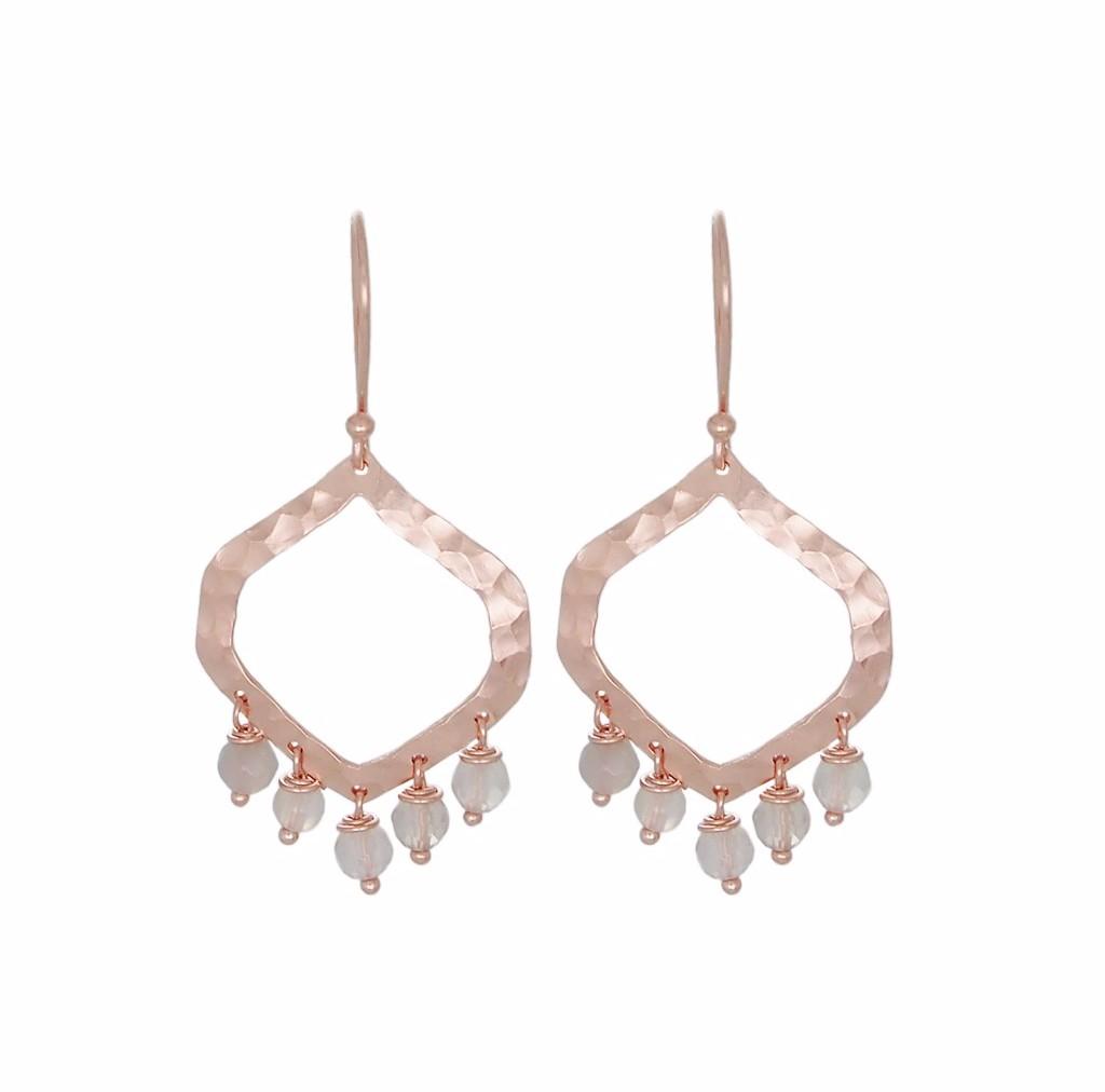 Nicole Fendel Allegra Statement Earrings Rose Gold Smokey Quartz