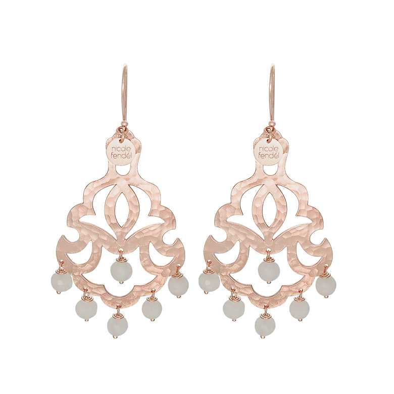 Nicole Fendel Alissa Statement Earrings in Rose Gold and Milky Agate